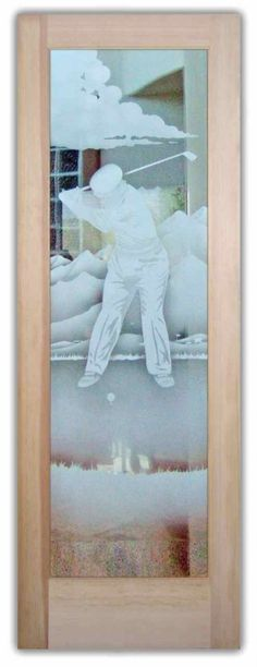 Desert Golfer - Glass Entry Doors Etched Glass Golfer on Golf Course Door Art