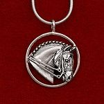 """This sterling silver pendant is a nice medium size measuring 15/16"""" in diameter. Comes on a 16"""", 18"""", or 20"""" sterling silver chain with nice size lobster clasp. See also 8000C or 8000BC which are a little larger."""