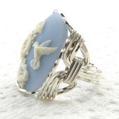 Hummingbird Blue Cameo Ring Sterling Silver Custom Jewelry ...