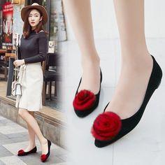 Flat Heels Womens Pumps Pointy Toe Flower Slip Ons Ballet Boat Shoes Loafers Sz
