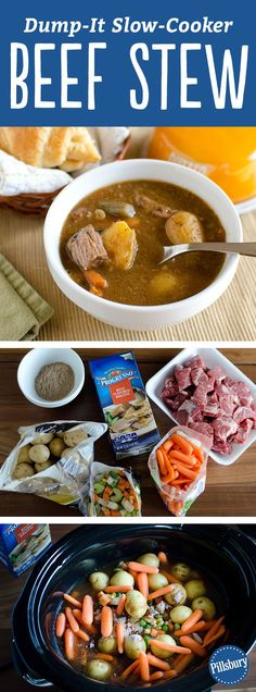 "Have you tried making a ""dump dinner"" yet? Don't let the name fool you--these no-fuss recipes are as delicious (and easy) as they come, with next to no cleanup required. Just pour ingredients into a pot, stir, cook and serve. No chopping means less prep time and less mess! Note: If you can't find beef stew seasoning, you can use a package of brown gravy mix."