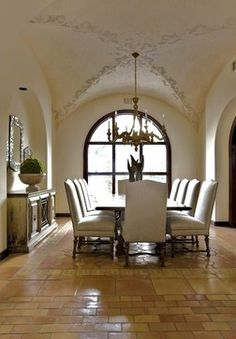 example of some dove grey trim, taupe wall with saltillo tile.  Saltillo Tile Design Ideas, Pictures, Remodel, and Decor