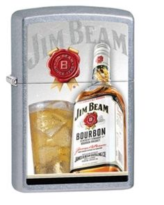A bottle of Jim Beam bourbon sits beside a full glass on this color imaged Street Chrome™ lighter. Comes packaged in an environmentally friendly gift box. For optimal performance, use with Zippo premi