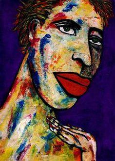 "Saatchi Art Artist CARMEN LUNA; Painting, ""55-RETRATOS Expresionistas. La tenista."" #art http://www.saatchiart.com/art-collection/Painting-Assemblage-Collage/Expressionist-Portrait/71968/51263/view"