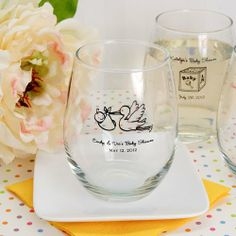 baby shower favors ideas | baby-shower-decorations-stemless-wine-glasses