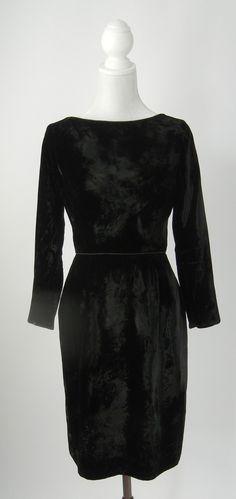 Vintage 1950 Black Velvet Cocktail Dress, by David Crystal, Small