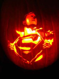 Superman pumkin.  My guys would love this!