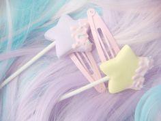 fairy kei sweet star pop hair clips
