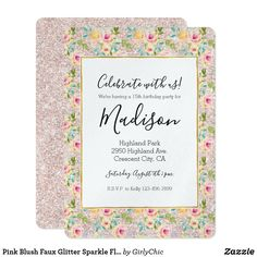 Pink Blush Faux Glitter Sparkle Floral Watercolor Card