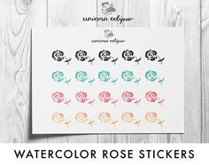 Watercolor Roses Planner Stickers planner stickers floral