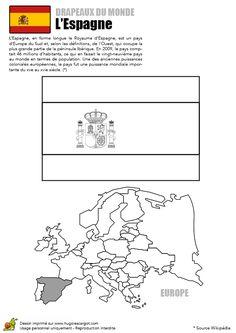 Coloriage Découverte Europe Drapeau L'Espagne - Hugolescargot.com