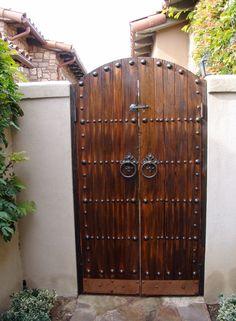 Spanish Style Wooden Driveway Entry Gate Stylish