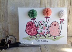 handmade  greeting card: Oh, Hello from Rambling Rose Studio by Billie Moan ... paper pieced chicks with honeycomb balloons ... cute!! ... Stampin' Up!