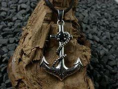 925 Sterling Silber, Anker Anhänger mit Onyx, Boot, Schiff, Seefahrt