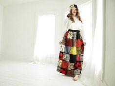 Vintage patchwork maxi skirt red floral poppy black boho high