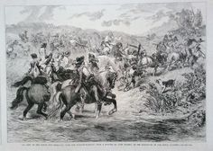 """1863 PRINT """"AN ARMY ON THE MARCH,THE REARGUARD WITH THE BAGGAGE"""" BY JOHN GILBERT"""
