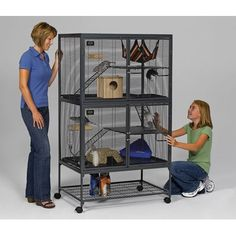 Midwest Homes For Pets Critter Nation Double Unit with Stand I knoooow this is getting a little bit ahead of myself.... But I really do want a chinchilla, and this cage has enough vertical space to fit in the apartment without much fuss! $250.00 though...