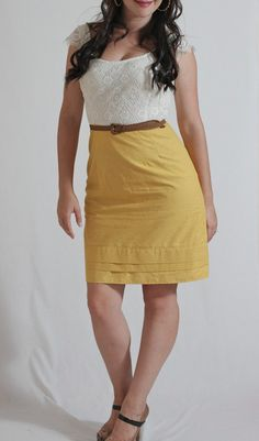 Mustard Lace Dress from Julia Bobbin on Coats & Clark