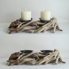 Bring the outdoors inside with this rustic candle holder made from driftwood and designed to hold two pillars candles of your choice. It's perfect for a patio or to complete your coastal look. Driftwood Candle Holders, Rustic Candle Holders, Rustic Candles, Rustic Wood, Pillar Candles, Driftwood Furniture, Driftwood Projects, Driftwood Art, Driftwood Ideas