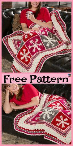 8 Crochet Pretty Snowflake Free Patterns – DIY 4 EVER - Herzlich willkommen Christmas Crochet Blanket, Christmas Crochet Patterns, Holiday Crochet, Crochet Snowflakes, Crochet Afgans, Crochet Quilt, Afghan Crochet Patterns, Knitting Patterns, Crochet Blankets