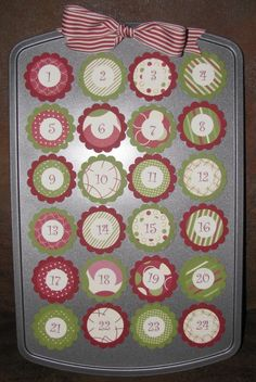 Mini muffin tin advent calendar: fill the tin with little pieces of candy and trinkets, then remove the circles to let the countdown begin. After the holidays, you can use the numbered circles as refrigerator magnets for kids to learn their numbers. Plus the recipient of this gift will have a new cupcake/muffin pan to use throughout the rest of the year....or keep to use again next year!!