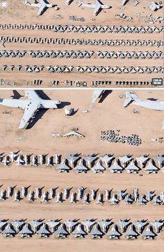 Scrapped Jet plane graveyard in Arizona, USA.