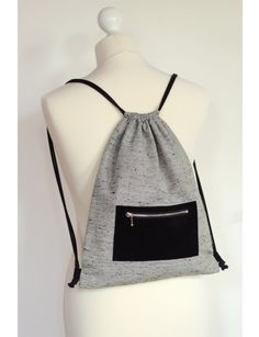 Adjustable drawstring backpack/ Cotton canvas rucksack on Etsy, $60.37