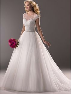 Lace and Tulle Jewel Neckline Ball Gown with Cap Sleeves MS001