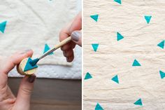 This is super cute and super easy! I must try this Tea Towel printing.or maybe on a cushion cover? Crafty Craft, Crafty Projects, Diy Projects To Try, Crafting, Stamp Printing, Printing On Fabric, Diy Arts And Crafts, Diy Crafts, Do It Yourself Design