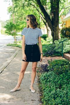 a-line suede skirt, striped shirt, lace up flats — via @TheFoxandShe
