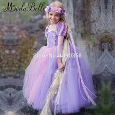 Online Shop Purple Flower Girls Dresses 2016 Children Prom Dress Cosplay Pageant  Gowns Kids Ball Gown Halloween Christmas Dress 6768cda72c2a
