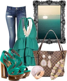 """""""Aqua Waters"""" by anna-campos ❤ liked on Polyvore"""