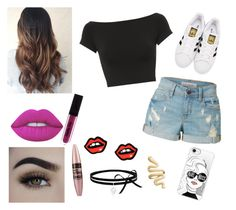 """Sem título #85"" by claradasgalaxia on Polyvore featuring moda, Helmut Lang, LE3NO, adidas Originals, Lime Crime, Maybelline, George J. Love e Casetify"