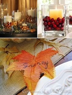 I like the written-on leaf.  Could spend time all together writing down things to be thankful for on leaves while thanksgiving meal cooks and use them to decorate table