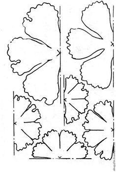 Хочу представить вашему вниманию мой вариант пиона из фоамирана... 1. В этом цветке использую 2 цвета — белый и желтый; 3 маленькие заготовки по 2 шт. белые и 3, по 2 шт. желтые. 2. Шаблон лепестков цветка: Вырезаем каждой по 2 шт: 3. Примерные размеры. 4. Обводим полукруги шаблона.