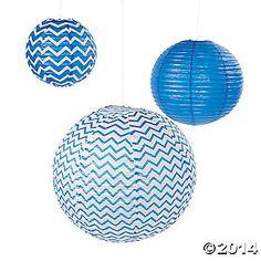 Blue Chevron Lanterns