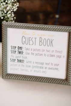 It's funny. My guest book is already planned to be like this. But the wording on this sign is perfect. Need to keep in mind. Photography: Michelle Lange Photography - www.michellelange.com