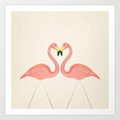 Flamingo Love Art Print by Laura Ruth Flamingo Art, Pink Flamingos, Flamingo Nursery, Create Your Own Converse, Symmetry Art, Love Frames, Popular Art, Dot And Bo, Love Art