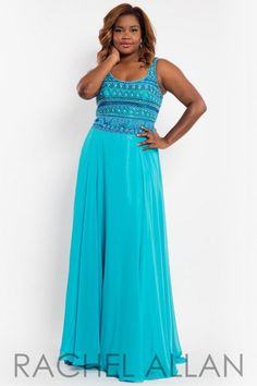 875876f31e43f Style 7804 from Rachel Allan Curves is a sleeveless plus size prom dress  with scoop neck