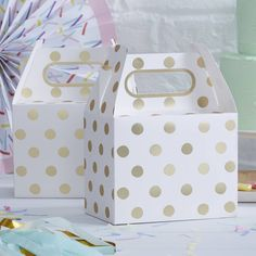 Gold Foil Polka Dot Favour Boxes (pack of 5) - A Wedding Less Ordinary