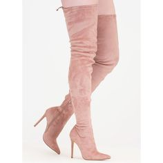 Crush Hard Faux Suede Thigh-High Boots ($40) ❤ liked on Polyvore featuring shoes, boots, heels, over-the-knee boots, pink, over-knee boots, knee high stiletto boots, faux suede over the knee boots, over the knee thigh high boots and faux suede knee high boots