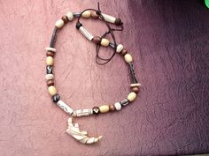 Primitive Wood & Bone Bead Necklace With Wire by VagabondTradeCo. Sold
