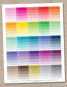 Ombre Checklist Planner Stickers Instant Download DIY Printable PDF