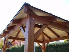 Pergola With Retractable Canopy Patio Pergola, Corner Pergola, Pergola With Roof, Wooden Pergola, Pergola Plans, Backyard, Outdoor Gazebos, Outdoor Rooms, Outdoor Gardens