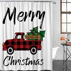 BMALL Christmas Shower Curtain,Merry Christmas Red Buffalo Plaid Car Xmas Pine Tree Bathroom Polyester Fabric Waterproof Shower Curtain Hooks Included 66x72 Inches #afflink Christmas Shower Curtains, Christmas Bathroom, Red Christmas, Xmas, Christmas Ideas, Buffalo Check Christmas Decor, Shower Curtain Hooks, Christmas Decorations, Holiday Decor