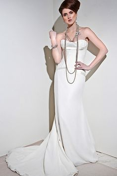 I need to try this art deco wedding dress on!