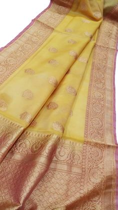 Yellow Handloom Banarasi Kora Silk Saree