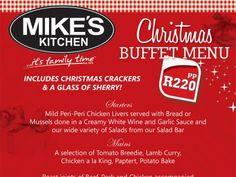 Mike's Kitchen Milnerton & N1 City - Christmas Menu Kitchen Buffet, Chicken Livers, Christmas Kitchen, Garlic Sauce, Salad Bar, Mussels, Creamy White, White Wine, Lamb