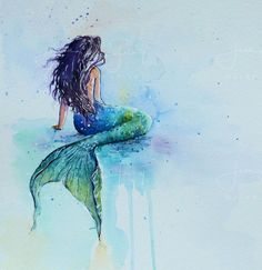 Unframed print of mermaid, for mermaid lovers and any room, and good for child or nursery too. From original watercolour painting. Unframed print of mermaid for mermaid lovers and any room Mermaid Artwork, Mermaid Drawings, Mermaid Tattoos, Art Drawings, Mermaid Paintings, Drawings Of Mermaids, Mermaid Prints, Octopus Tattoos, Watercolor Mermaid Tattoo