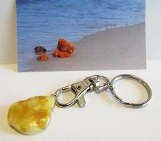 100% Natural genuine Baltic amber yellow charm for keys landscape unisex steel #Unbranded